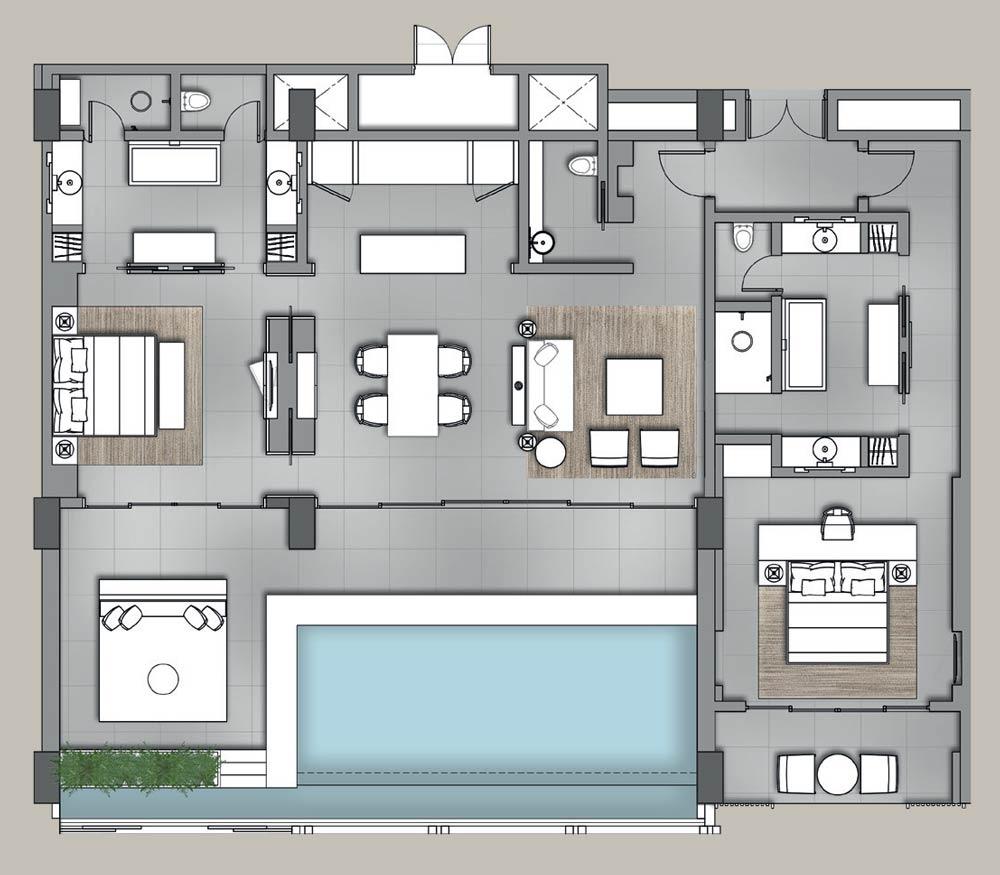 Mặt bằng căn điển hình Sky Villas Phú Quốc - Regent