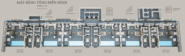 Mặt bằng tầng điển hình Sky Villas Phú Quốc - Regent