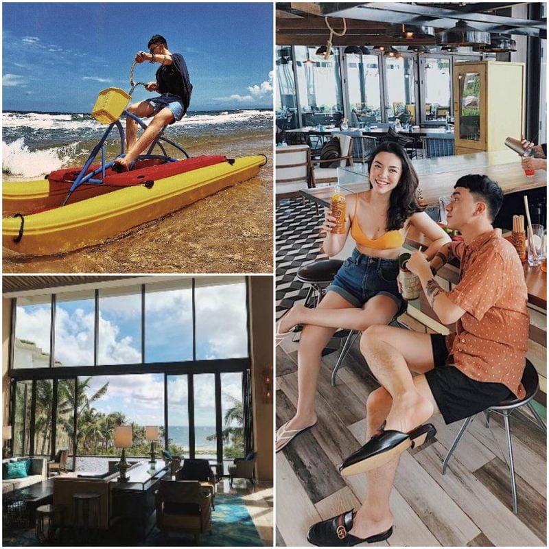 Đôi bạn tham gia vào hết các trò chơi dưới biển cực lạ như: Đạp xe trên mặt biển, lướt ván... cùng khung cảnh nên thơ tại lobby của resort. @monsimi