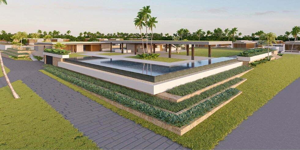 Không gian thiết kế bên ngoài căn biệt thự Sailing Club Villas Phu Quoc vô cùng thông thoáng và khoáng đạt, mang lại sự yên tĩnh tối đa cho Quý khách hàng
