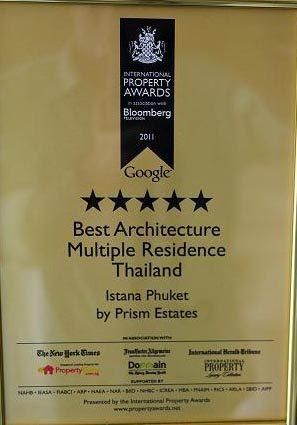 Giải thưởng BĐS quốc té cho ISATANA, Phuket, Thai Lan