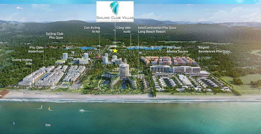 Vị trí các dự án và Sailing Club Villas Phu Quoc tại khu phức hợp thương mại Phu Quoc Marina