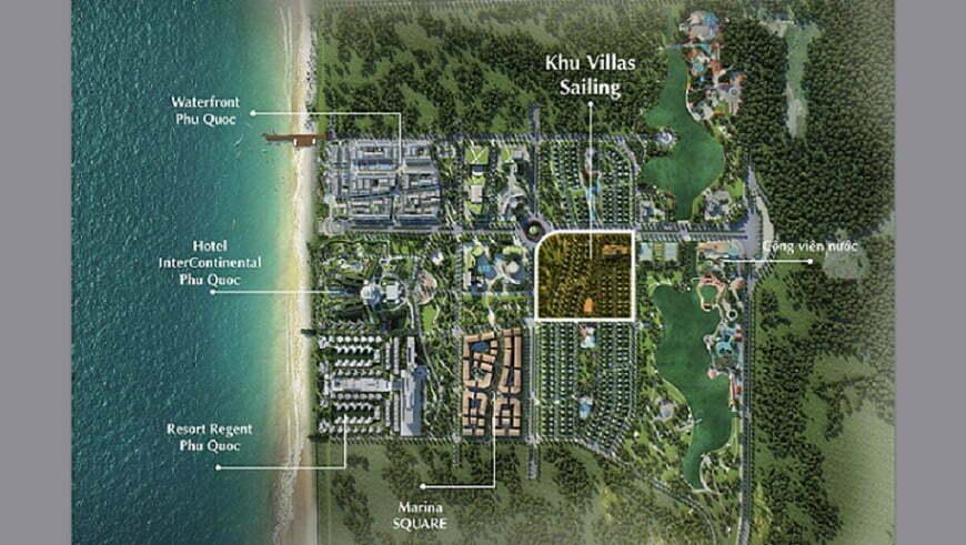 Sailing Club Villas Phu Quoc nằm trong khu phức hợp thương mại Phu Quoc Marina